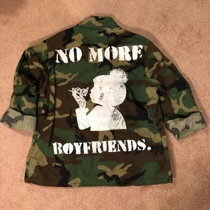 """Jackets & Blazers - """"NO MORE BOYFRIENDS"""" Camo Jacket"""